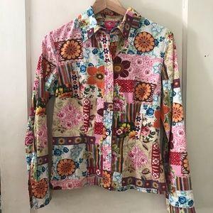Vintage Oilily Bright Floral Patchwork Blouse